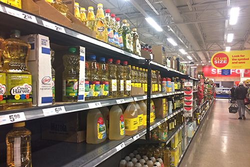 Canola Oil on the shelf at the grocery store. Photo By Brendan Ellis
