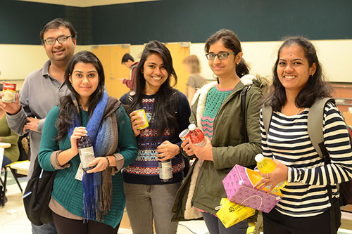 Anusha Subramanian (a U of R student) and friends at the URSU food pantry.