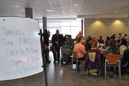 University of Regina faculty, staff, students and community members gather in the RIC Building to discuss how to implement TRC calls to action. Photo by Brad Bellegarde.