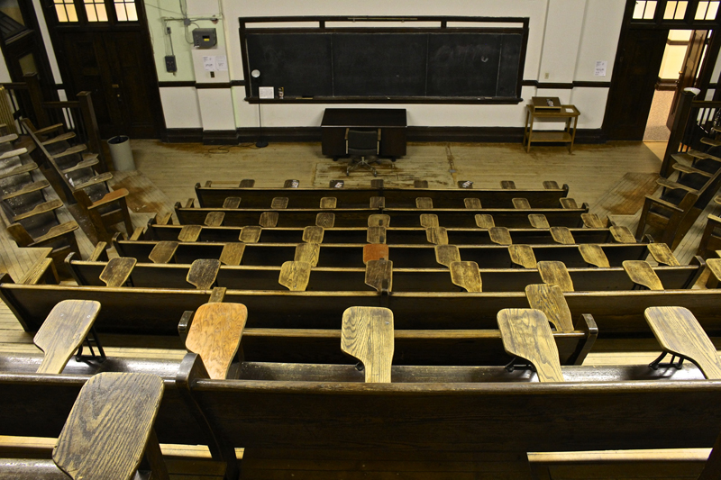 Constructed in 1912, this lecture theatre is located on the University of Regina's old College Avenue campus. With plans to refurbish the campus, this room will be left in its original condition with minor upgrades to help preserve the university's collection of historical landmarks. Photo by Victoria Dinh