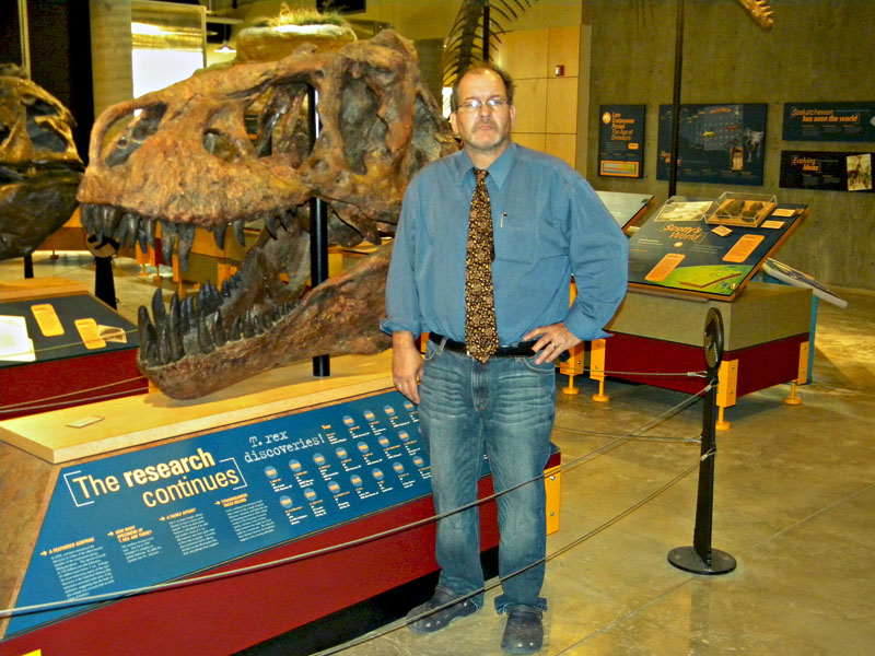 Tim Tokaryk, head of the paleontology program at the Royal Saskatchewan Museum with 'Scotty' the Tyrannosaurus Rex.