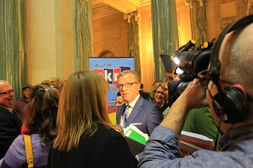 Brad Wall faces the media to answer questions following a controversial budget announcement on March 22, 2017