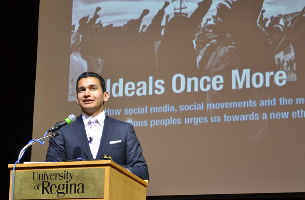 Wab Kinew gave the 33rd Minifie Lecture at the University of Regina on Tuesday, March 19.