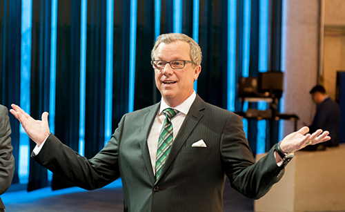 Sask Party leader Brad Wall addresses reporters following a heated March 23rd leaders' debate. Photo by Brandon Harder.