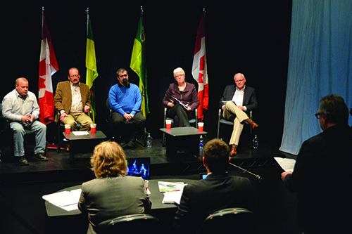 Political candidates meet for the Agdebate at the Persephone Theatre in Saskatoon on March 22. Photo by Tennessa Wild.